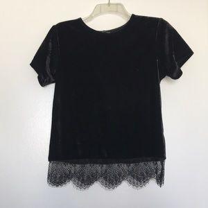 Velvet black top with lace design